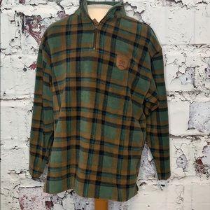 Tommy Hilfiger plaid fleece pullover men's L
